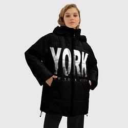 Женская зимняя 3D-куртка с капюшоном с принтом New York City, цвет: 3D-черный, артикул: 10122063206071 — фото 2
