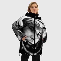 Женская зимняя 3D-куртка с капюшоном с принтом Гагарин космонавт, цвет: 3D-черный, артикул: 10123898906071 — фото 2