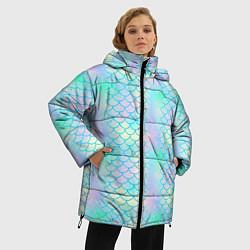 Куртка зимняя женская Голубая чешуя цвета 3D-черный — фото 2