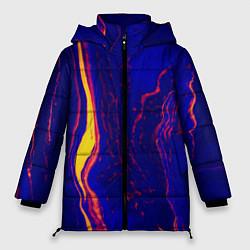 Женская зимняя 3D-куртка с капюшоном с принтом Ультрафиолетовые разводы, цвет: 3D-черный, артикул: 10134103706071 — фото 1