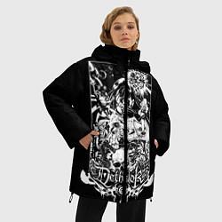 Женская зимняя 3D-куртка с капюшоном с принтом Dethklok: Metalocalypse, цвет: 3D-черный, артикул: 10134388906071 — фото 2
