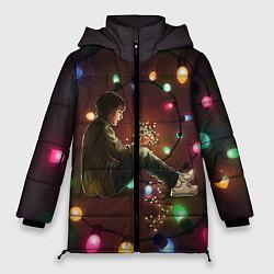 Женская зимняя 3D-куртка с капюшоном с принтом Парень с лампочками, цвет: 3D-черный, артикул: 10135899306071 — фото 1