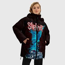 Женская зимняя 3D-куртка с капюшоном с принтом Орел группа Slipknot, цвет: 3D-черный, артикул: 10135999506071 — фото 2