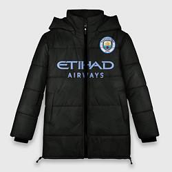 Женская зимняя 3D-куртка с капюшоном с принтом Man City FC: Black 17/18, цвет: 3D-черный, артикул: 10137896506071 — фото 1
