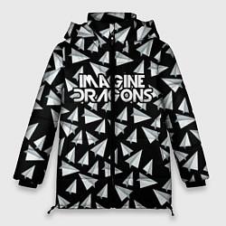 Женская зимняя 3D-куртка с капюшоном с принтом Imagine Dragons: Paper airplanes, цвет: 3D-черный, артикул: 10140511106071 — фото 1