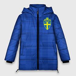 Женская зимняя 3D-куртка с капюшоном с принтом Сборная Швеции: Гостевая ЧМ-2018, цвет: 3D-черный, артикул: 10151652906071 — фото 1