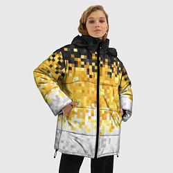 Женская зимняя 3D-куртка с капюшоном с принтом Имперский флаг пикселами, цвет: 3D-черный, артикул: 10152081106071 — фото 2