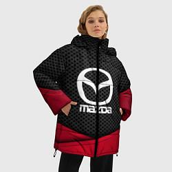 Женская зимняя 3D-куртка с капюшоном с принтом Mazda: Grey Carbon, цвет: 3D-черный, артикул: 10152624706071 — фото 2