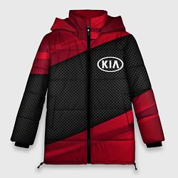 Женская зимняя 3D-куртка с капюшоном с принтом Kia: Red Sport, цвет: 3D-черный, артикул: 10152996306071 — фото 1