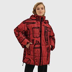 Женская зимняя 3D-куртка с капюшоном с принтом Инструменты мужика, цвет: 3D-черный, артикул: 10158125706071 — фото 2