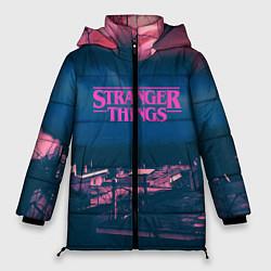 Женская зимняя 3D-куртка с капюшоном с принтом Stranger Things: Pink Heaven, цвет: 3D-черный, артикул: 10167407706071 — фото 1