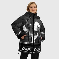 Женская зимняя 3D-куртка с капюшоном с принтом Washington Capitals: Mono, цвет: 3D-черный, артикул: 10178513306071 — фото 2