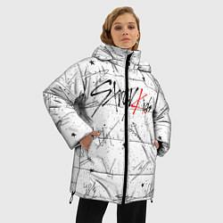 Женская зимняя 3D-куртка с капюшоном с принтом STRAY KIDS АВТОГРАФЫ, цвет: 3D-черный, артикул: 10185291306071 — фото 2