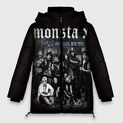 Женская зимняя 3D-куртка с капюшоном с принтом Monsta X, цвет: 3D-черный, артикул: 10186735506071 — фото 1