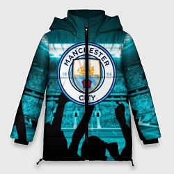 Женская зимняя 3D-куртка с капюшоном с принтом Manchester City, цвет: 3D-черный, артикул: 10199738306071 — фото 1