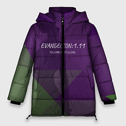 Женская зимняя 3D-куртка с капюшоном с принтом Evangelion: 111, цвет: 3D-черный, артикул: 10201116106071 — фото 1