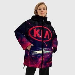 Женская зимняя 3D-куртка с капюшоном с принтом КIA, цвет: 3D-черный, артикул: 10202347306071 — фото 2