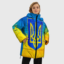 Женская зимняя 3D-куртка с капюшоном с принтом Флаг, цвет: 3D-черный, артикул: 10203595706071 — фото 2