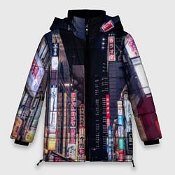 Женская зимняя 3D-куртка с капюшоном с принтом Ночной Токио, цвет: 3D-черный, артикул: 10209190906071 — фото 1