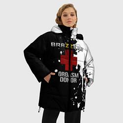 Женская зимняя 3D-куртка с капюшоном с принтом Brazzers orgasm donor, цвет: 3D-черный, артикул: 10211297506071 — фото 2