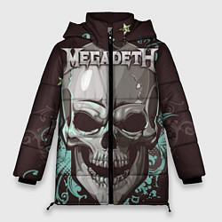 Женская зимняя 3D-куртка с капюшоном с принтом Megadeth, цвет: 3D-черный, артикул: 10218171706071 — фото 1
