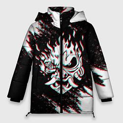 Женская зимняя 3D-куртка с капюшоном с принтом CYBERPUNK 2077 SAMURAI GLITCH, цвет: 3D-черный, артикул: 10237615306071 — фото 1