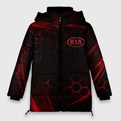 Женская зимняя 3D-куртка с капюшоном с принтом KIA, цвет: 3D-черный, артикул: 10252189106071 — фото 1