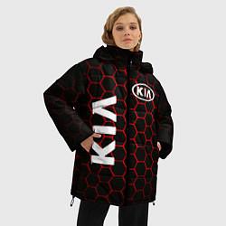 Женская зимняя 3D-куртка с капюшоном с принтом KIA, цвет: 3D-черный, артикул: 10253983306071 — фото 2