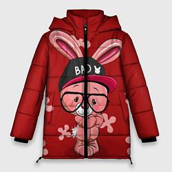 Женская зимняя 3D-куртка с капюшоном с принтом Модный зайка, цвет: 3D-черный, артикул: 10271847906071 — фото 1