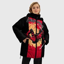 Женская зимняя 3D-куртка с капюшоном с принтом Deadpool шесть непослушных рук, цвет: 3D-черный, артикул: 10275016906071 — фото 2