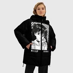 Женская зимняя 3D-куртка с капюшоном с принтом Аска ева 02, цвет: 3D-черный, артикул: 10275782906071 — фото 2