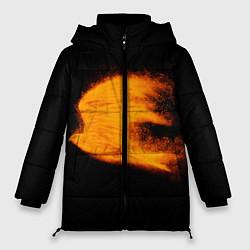 Женская зимняя 3D-куртка с капюшоном с принтом Огненная птица, цвет: 3D-черный, артикул: 10280090506071 — фото 1