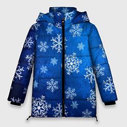 Куртка зимняя женская Новый Год Снежинки цвета 3D-черный — фото 1