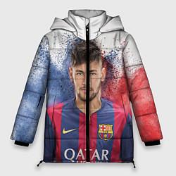 Женская зимняя 3D-куртка с капюшоном с принтом Neymar FCB, цвет: 3D-черный, артикул: 10063907306071 — фото 1