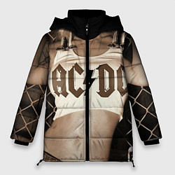 Женская зимняя 3D-куртка с капюшоном с принтом AC/DC Girl, цвет: 3D-черный, артикул: 10064006906071 — фото 1