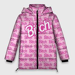 Женская зимняя 3D-куртка с капюшоном с принтом Bitch Barbie, цвет: 3D-черный, артикул: 10064282606071 — фото 1
