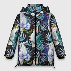 Женская зимняя 3D-куртка с капюшоном с принтом Тропические попугаи, цвет: 3D-черный, артикул: 10065275306071 — фото 1
