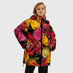 Женская зимняя 3D-куртка с капюшоном с принтом Ассорти из роз, цвет: 3D-черный, артикул: 10067033006071 — фото 2