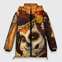 Женская зимняя 3D-куртка с капюшоном с принтом Девушка. Сахарный череп, цвет: 3D-черный, артикул: 10071140306071 — фото 1