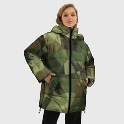 Куртка зимняя женская Полигональный камуфляж цвета 3D-черный — фото 2