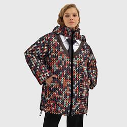 Куртка зимняя женская Вязанный узор с галстуком - фото 2