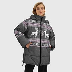 Куртка зимняя женская Узор с оленями цвета 3D-черный — фото 2