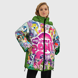 Женская зимняя 3D-куртка с капюшоном с принтом My Little Pony, цвет: 3D-черный, артикул: 10075445006071 — фото 2