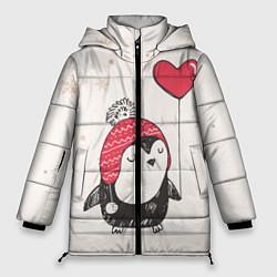 Женская зимняя 3D-куртка с капюшоном с принтом Влюбленный пингвин, цвет: 3D-черный, артикул: 10076966606071 — фото 1