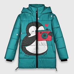 Куртка зимняя женская Пингвин с фотоаппаратом цвета 3D-черный — фото 1