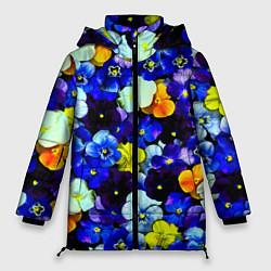 Женская зимняя 3D-куртка с капюшоном с принтом Синие цветы, цвет: 3D-черный, артикул: 10081584206071 — фото 1