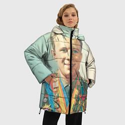 Женская зимняя 3D-куртка с капюшоном с принтом Гагарин в орденах, цвет: 3D-черный, артикул: 10082403806071 — фото 2