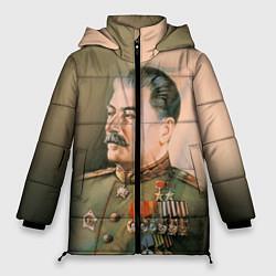 Женская зимняя 3D-куртка с капюшоном с принтом Иосиф Сталин, цвет: 3D-черный, артикул: 10082407706071 — фото 1