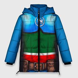 Женская зимняя 3D-куртка с капюшоном с принтом Капитан Татарстан, цвет: 3D-черный, артикул: 10086777806071 — фото 1