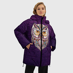 Женская зимняя 3D-куртка с капюшоном с принтом Расписная сова, цвет: 3D-черный, артикул: 10086919706071 — фото 2